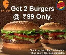 Get 2 Burgers at just Rs. 99
