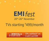 EMI Fest - TV's Starting Rs 499/month + 10% cashback
